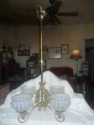 2/2 Vntg Gilt Brass/Satin Glass Shades 4-Arm Art Deco Chandelier Ceiling Fixture