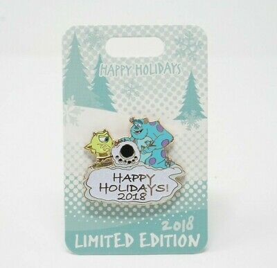 Disney Parks 2018 Mike Wazowski & Sulley Happy Holidays Limited Edition Pin