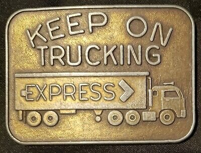 Keep on Trucking belt buckle Express truck brass tone
