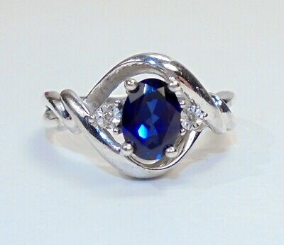 dca20bc8c31 Sterling Silver Lab Created Blue Sapphire Ring w/Diamond Accents SZ 7