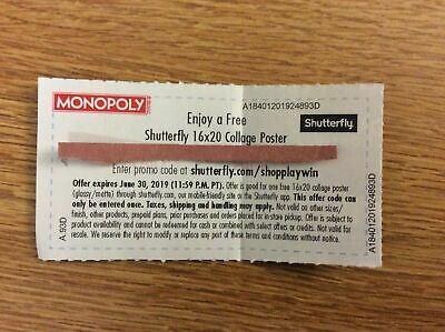 SHUTTERFLY 16x20 Collage Poster Promo Code Monopoly Safeway Exp. 06/30/19