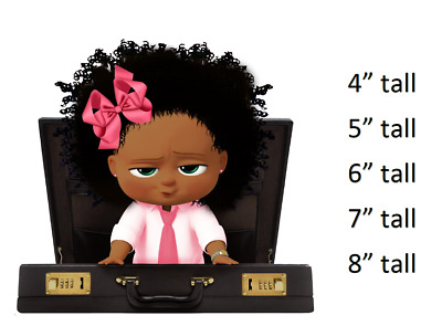 African American Pink Boss Baby Afro Puffs Girl Cake Edible