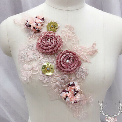 3D Flower Lace Embroidery Bridal Applique Beaded Tulle DIY Wedding Dress