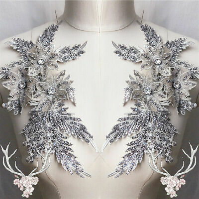 3D Embroidery Flower Bridal Lace Applique Beaded Tulle DIY Wedding Dress 1 PC