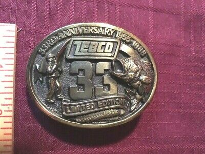 ZEBCO Brass Belt BUCKLE...33rd Anniversary...Limited Edition!!