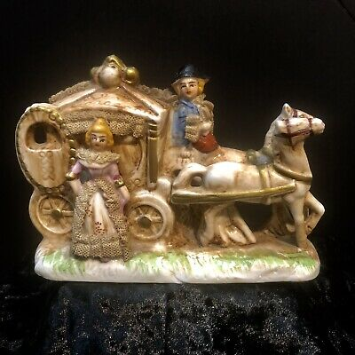 Antique Porcelain Bisque Horse Drawn Carriage with Dresden Like Lace & Gold Gilt