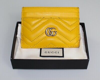 e355f7ba653f Auth $250 GUCCI Marmont Chevron Card Holder Wallet Yellow Gold Monogram in  Box