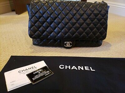 b0956a48bac6 Authentic CHANEL XXL Black Quilted Lambskin Classic Rabat Bag Excellent Cond