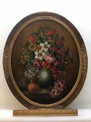 antique oil painting Floral, Original On Artist Board 1890s Gorgeous Frame!!