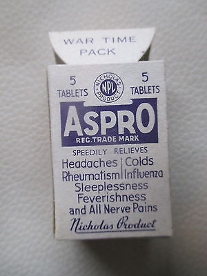 Vintage Aspro War Time Pack- Mint Condition- 1939-1945