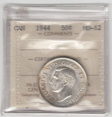 1944 Canada 50-cent Silver Coin ICCS MS-62 - Old Holder