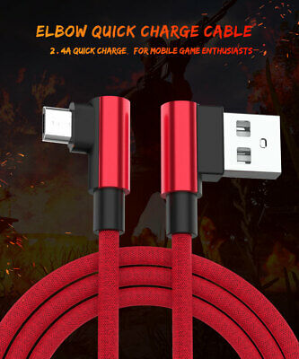 Braided 90 Degree Right Angle Type C Micro USB Fast Data Sync Charger Cable New