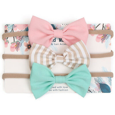 3Pcs/set Infant Baby Girl Bow Headband Newborn Headdress Headwear Hair Band Cute