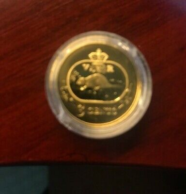 2001 Canadian  24 K Gold Plated Sterling Silver 3 Cent Coin