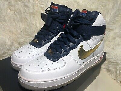 sale retailer 342ad 6bb27 Nike Air Force 1 High Premium USA Olympic White Gold Midnight 525317 100 Sz  7.5