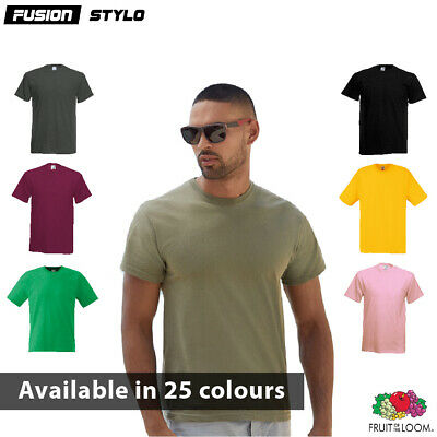 3 or 5 Pack Mens Fruit Of The Loom 100% Cotton Plain Tee shirts T Shirt T-Shirts