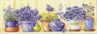 """NEW DESIGN """"LAVENDER POTS"""" NEEDLEPOINT TAPESTRY canvas to stitch! FREE POST"""