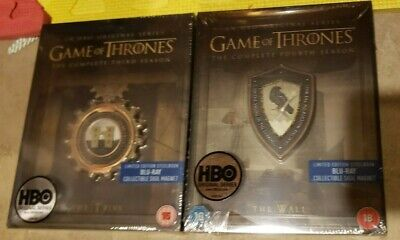 Game of Thrones Season 3 4 UK STEELBOOK Blu-ray Region-Free Third Fourth NEW!!
