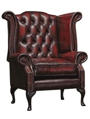 Chesterfield High back Queen Anne Chair Wing Back Armchair Antique Oxblood Red