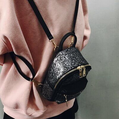 Fashion Women Schoolbag Shiny Color Sequins Decoration PU Leather Backpack M#