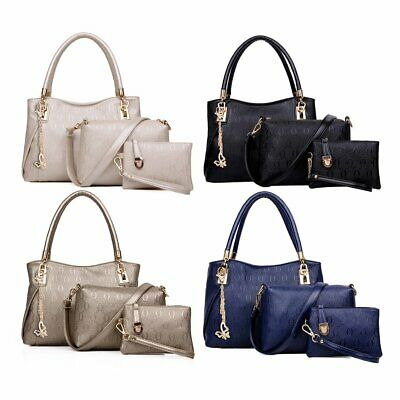 3pcs/Set Women Bag Elegant PU Leather Handbag Messenger Bag Small Wallet Bag M#