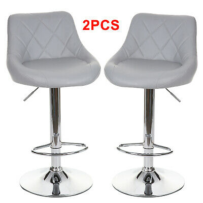 2X Grey Eather Barstools Gas Lift Bar Stool Breakfast Kitchen