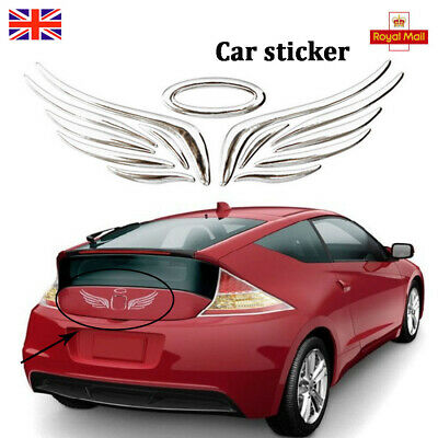Angel Wings Car Badge 3D Self Adhesive Sticker Chrome Silver Halo Decal