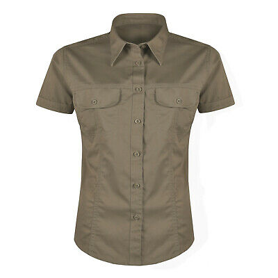 Ladies Short Sleeve Shirt Button Up 100% Cotton Womens Collared Plain Blouse Top