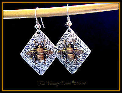Bali SS & Hill Tribe/ Sterling SP Save the Bees Queen Bee Dangle Earrings