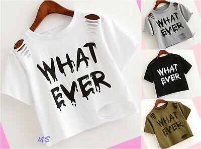 Girls Top Ripped Summer Short Sleeve T-shirt White Black Tops Age 13 14 15 years