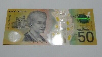 EARLY PREFIX - Australian $50 Note - Spelling Error - EXCELLENT  AA182594032