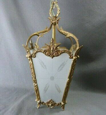 French Vintage Chandelier Ornate Bronze and Frosted Glass 1930's