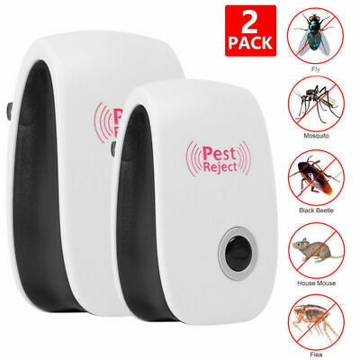 2x Electronic Ultrasonic Pest Reject Mosquito Cockroach Mouse Killer Repeller EU