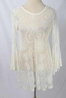 8570dc9011cd09 Mechant Size L Cream Sheer Embroidered Mesh Bell Sleeve Tunic Dress 1354  L31E