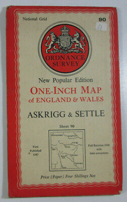 1947 Old OS Ordnance Survey New Popular Edition One Inch Map 90 Askrigg & Settle