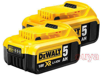 2x NEW DEWALT 18V 5.0Ah XR  DCB184 DCB184-XE LI-Ion Slide BATTERY PACK