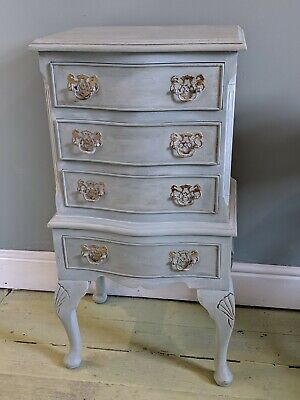 Painted French Louis XV Style Ornate Chest Of Drawers Curved Legs Sidetable