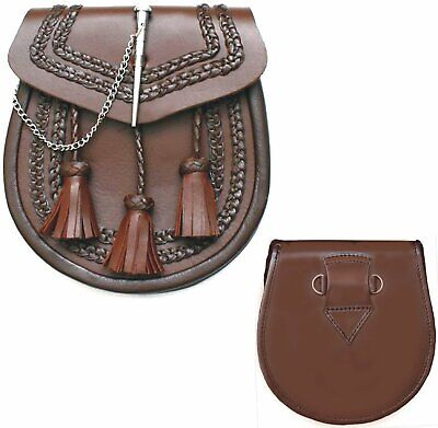 LEATHER SPORRAN  Real Leather-Hand Braded with Pin Lock Closur