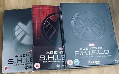 Agents Of Shield Uk Marvel Exclusive Bluray Steelbooks Seasons 1+2+3 New+Sealed.