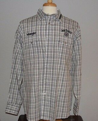 Men's Western Wrangler Jack Daniels Old No. 7 Plaid Button Front Shirt Sz XXL.