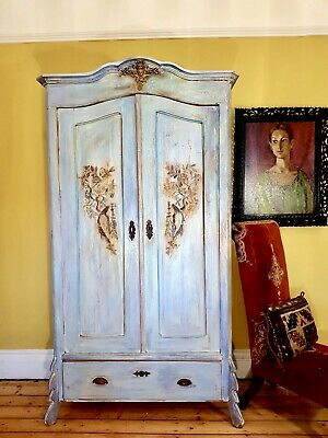 Vintage French Painted Pine Armoire / Wardrobe