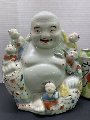 Antique Large Buddha Chinese Famille Rose Marked porcelain laughing Qing Dynasty