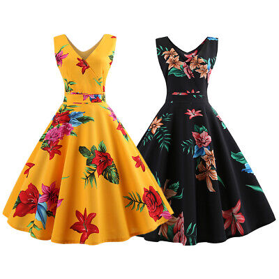 c3e8dd67039f6 Women Vintage Retro Floral Rockabilly Pinup Housewife Swing Party Dress 50s  60s