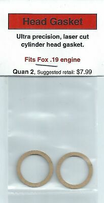 Aftermarket Cylinder Head Gasket 2 Pack, Fits Fox .19 (1 pc Case) NIP
