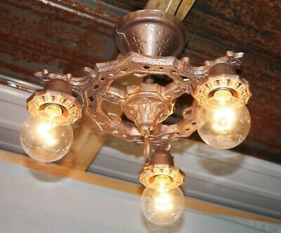 Antique Art Deco Gold Cast Iron 3 Light Hanging Ceiling Light Chandelier Rewired