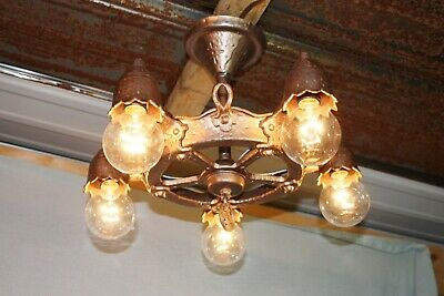 Rare Antique Craftsman Gold Cast Iron 5 Light Hanging Ceiling Light Chandelier