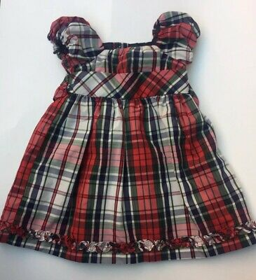 d292a16d052 Ralph Lauren Chaps Baby Girl Dress Red Navy White Plaid With Bloomers 12  months