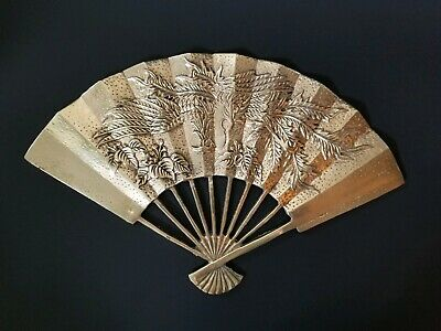 Vintage Brass Fan Decor Wall Art Oriental Asian Style Heavy