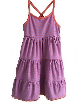 Mini Boden Years 2 to 11 Jersey Lilac with Orange Stripe Frill Summer Sun Dress