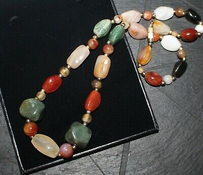 Costume Jewellery Rainbow Scottish Agate Necklace Multi Coloured Harlequin Semi Precious Gemstone 50% OFF